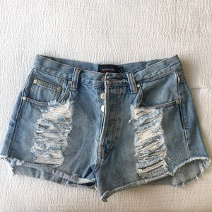 Minkpink destructed denim shorts size M wore once